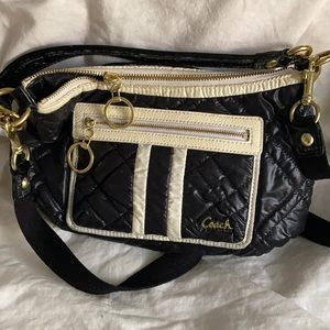 Coach black and white ski bunny bag quilted